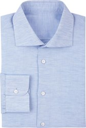 Uman Linen And Cotton Dress Shirt Blue