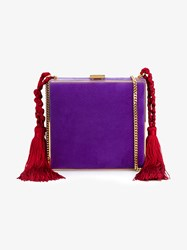 Alessandra Rich Suede Tasseled Square Clutch Purple Red