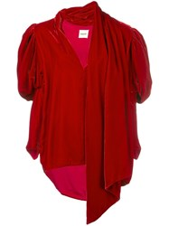 Khaite Draped Asymmetric Blouse Red
