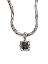 John Hardy Classic Chain Black Sapphire And Sterling Silver Medium Square Pendant