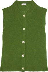 Miu Miu Cropped Wool Cardigan Green