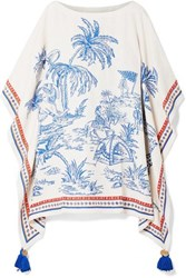 Tory Burch Tasseled Embellished Printed Silk And Linen Blend Kaftan Blue