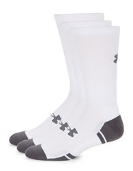 Under Armour Six Pack Ribbed Crew Socks White