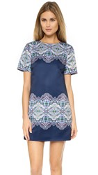 Cynthia Rowley Boxy Shift Mini Dress Emerald Navy