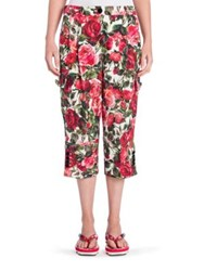 Dolce And Gabbana Floral Cropped Pants Brocade Rose Print
