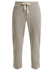 Skin Edie Waffle Knit Cotton Blend Track Pants Light Grey