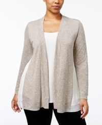 Ny Collection Plus Size Layered Look Sweater Oatmeal