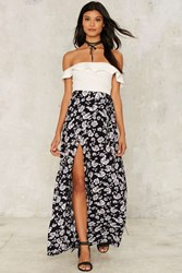 Keep It Wrapped Floral Skirt Navy