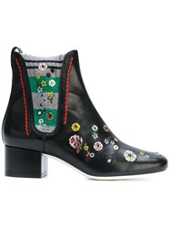 Fendi Floral Embroidered Ankle Boots Women Cotton Calf Leather Leather 40 Black