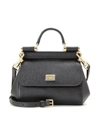Dolce And Gabbana Miss Sicily Micro Leather Shoulder Bag Black