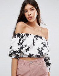 Qed London Floral Off The Shoulder Top White Black Multi
