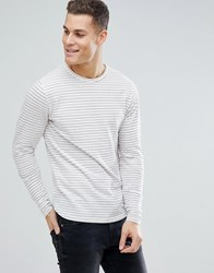 Bellfield Long Sleeve T Shirt With Red Stripe Off White Cream