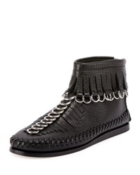 Alexander Wang Montana Pebbled Leather Moccasin Bootie Black