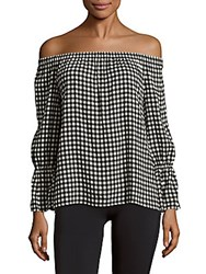 Sanctuary Charlotte Off The Shoulder Printed Blouse Black White