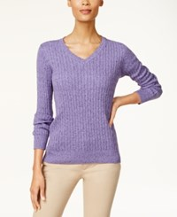 Karen Scott Cotton V Neck Cable Knit Sweater Created For Macy's Purple Bliss Marl
