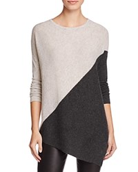 Bloomingdale's C By Cashmere Asymmetric Colorblock Sweater 100 Exclusive Cement With Dark Slate