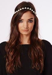 Missguided Pearl Detail Headband Silver