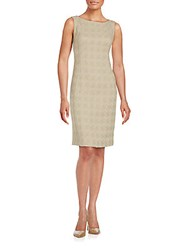 Lafayette 148 New York Jacquard Knit Wool Sheath Dress Khaki