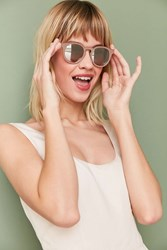 Urban Outfitters Painted Metal Round Sunglasses Beige