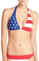 Women's Polo Ralph Lauren Flag Pattern Halter Bikini Top