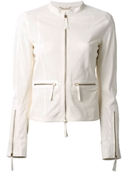 Roberto Cavalli Perforated Leather Jacket White