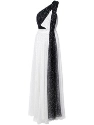 Prabal Gurung One Shoulder Pleated Combo Gown White
