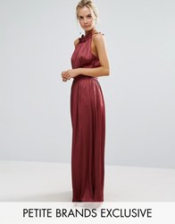 Little Mistress Petite Ruched Pleated Maxi Prom Dress Wine Red