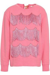 Marc Jacobs Woman Fringed French Cotton Terry Sweatshirt Pink