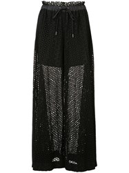 Sacai Drawstring Wide Leg Dot Lace Pant Black