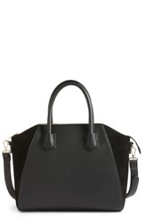Sole Society Mikayla Faux Leather And Suede Satchel Black