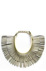 Hayden 'Ilaria' Leather Fringe Collar Necklace Platinum Crackle