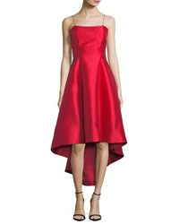 Phoebe Couture Strappy Back High Low Midi Gown Cherry