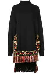 Oscar De La Renta Embroidered High Low Hem Jumper Black
