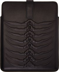 Alexander Mcqueen Black Leather Rib Cage Tablet Case