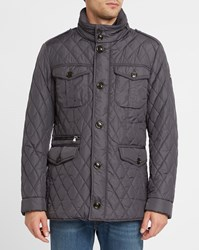 Hackett Navy Holborn Thermo Insulation Zipped Multi Pockets Quilted Parka Blue