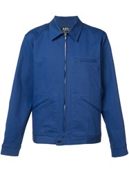 A.P.C. Zipped Shirt Jacket Men Cotton Spandex Elastane Xl Blue