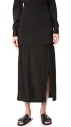 Dkny Midi Skirt With Slit And Combo Fabric Black