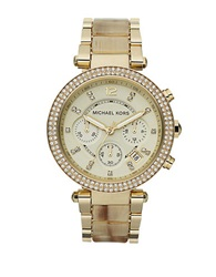 Michael Kors Ladies Parker Goldtone And Horn Glitz Watch