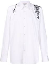Alexander Mcqueen Embroidered Floral Harness Shirt White
