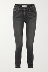 Frame Le High Cropped Skinny Jeans Dark Gray
