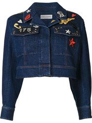 Sonia Rykiel Cropped Denim Jacket Blue