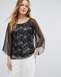 Jasmine Butterfly Blouse With Flare Sleeve Black