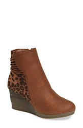 Sbicca Colleen Wedge Boot Tan Leopard Fabric