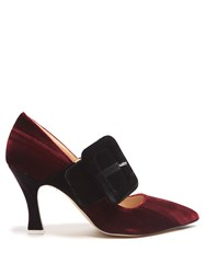 Attico Elsa Buckle Embellished Velvet Pumps Burgundy Multi