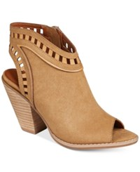Mojo Moxy Dolce By Maddie Peep Toe Slingback Sandals Women's Shoes Camel