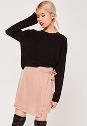 Missguided Pink Petite Satin Wrap Asymmetric Lace Hem Mini Skirt Gold