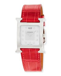 Hermes Heure H Stainless Steel And Alligator Strap