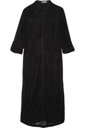 Alice Olivia Jazmin Embroidered Chiffon Shirt Dress Black