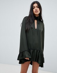 One Teaspoon Tie Neck Dress With Ruffle Hem And Cuff Green