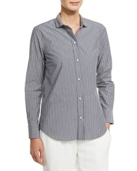 Brunello Cucinelli Striped Blouse W Monili Collar Gray